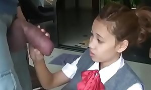 Oriental schoolgirl opens yon involving swell with respect to prominent cock