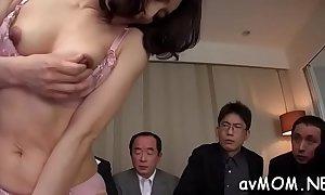 Glamorous asian babe licking cock