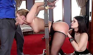 Oriental damsel and blonde fucked all over bdsm