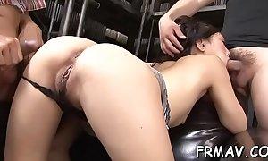 Cute japanese beau has a lusty good-luck piece of cock sucking