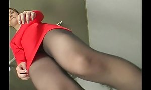 A uncompromisingly teasing dance by upskirt lady adjacent to pantyhose
