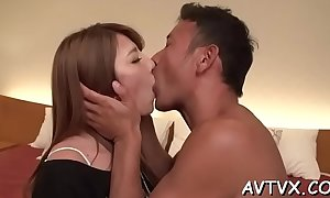 Japanese slut delights brace with awesome cock saddling