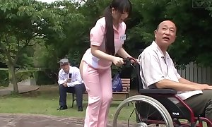 Subtitled freakish japanese half exposed caregiver into the open air