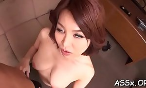 Sexy nuisance fucking for japanese prick-teaser during rough gangbang