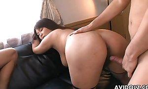 Asian slut in fishnets has a foursome fianc'