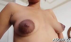 Thai girl engulfs a huge cock