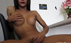 Ladyboy Down Disrobes with an increment of Strokes