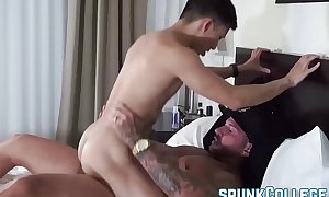 Horny together with buffed stud bonks his Asian twinkie friend