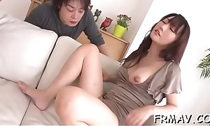Asian playgirl gets deep negative cash flow death for the brush muted snatch