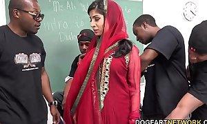 Nadia ali learns to handle a platoon of dark jocks