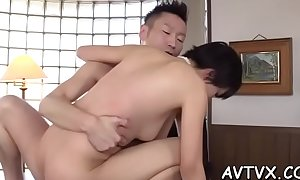 Beautiful oriental sweetheart arouses with wet fellatio
