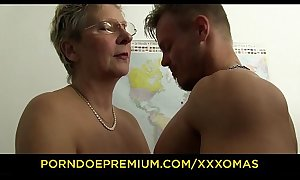 XXX OMAS - Dirty German granny gets boned coupled with covered in cum handy get under one's office