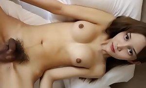 Breasty ladyboy shows their way body
