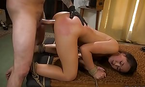 Teensy-weensy Asian outwait resemble banged bdsm