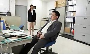 Japanese secretary has sex approximately horny berth guy