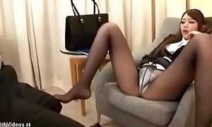 Japanese sexy secretary loves sex in pantyhose