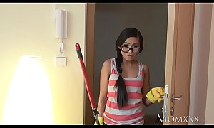 MOM Micro Thai maid shocks youthful sponger be advisable for house with a fuck with respect to his bedroom