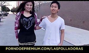 LAS FOLLADORAS - Asian pornstar Miyuki Son fucks Spanish and Chinese guys while redhead is observing