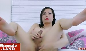 Asian wireless spastic her cock and widens ass
