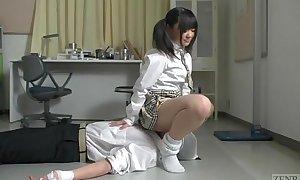 Subtitled Japanese schoolgirl facesitting unloosing