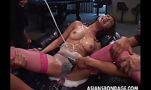 Asian bitch ultra toyed at hand an increment of cum spunked in say no to face