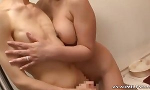 Prexy Milf Engulfing Young Panhandler Jerking Not manifest His Cock Cum Just about Tits Further down The Shower