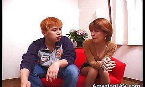 Tiny oriental redhead sucking horseshit