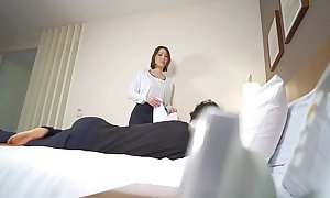 Subtitled Japanese hotel massage leads to oral pleasure near HD